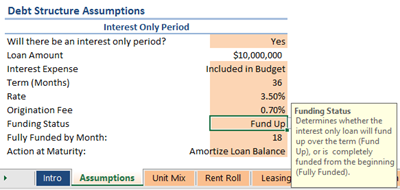 change the starting balance of a construction loan real