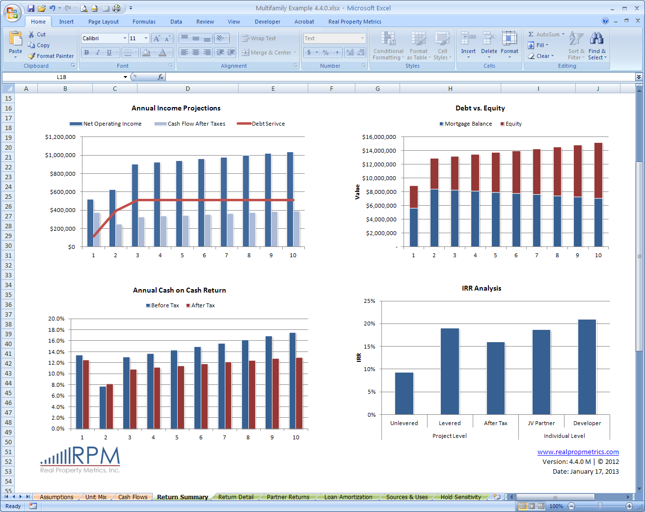 Summary Page - Excel - Real Property Metrics, Inc.
